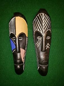 2 African Face Masks Tribal Art Wood Ritual Ceremonial Hand Carved Zim