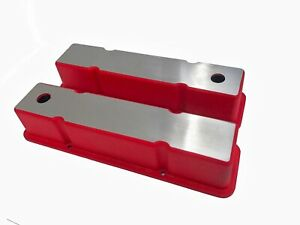 Custom Made Valve Covers Small Block Chevy Two Toned red