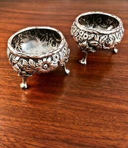2 S Kirk Son Sterling Silver Repousse Master Salt Cellars Pattern 3