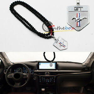 Jdm Chrome Metal Ford Mustang Car Rearview Mirror Hanging Ornament Pendant
