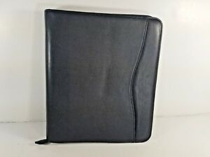 Day timer Planner Cover Black Genuine Leather Zippered Folio Size