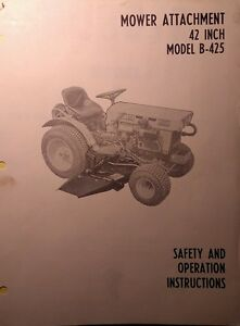 Kubota B6000 Diesel 4x4 Tractor 42 Center Mower Implement Owner Parts Manual