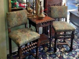 Vintage Spanish Revival Pair Of Chairs Reupholstered