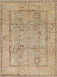 Vegetable Dye Muted Green Oushak Turkish Hand Knotted Oriental Area Rug 9 X12