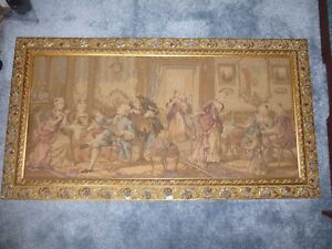 Vintage Romantic Belgian Tapestry Wall Hanging 45 X 24 Inches