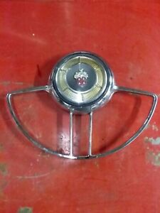 Nice 53 54 Packard Steering Wheel Chrome Horn Ring W Button Caribbean 400
