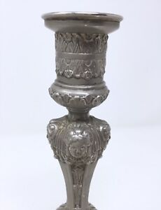 Vintage Ornate Silver Plated Candle Stick Holder Japan Victorian Style Octagonal