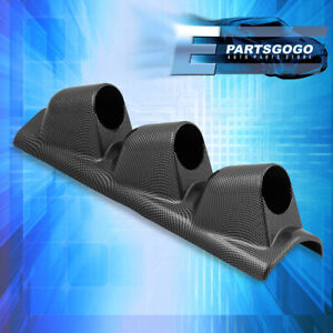 52mm Performance Jdm Carbon Fiber Look Triple Pillar Gauge Monitor Pod Mount