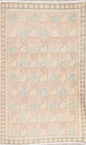 Vintage Muted Persian Oriental Hand Knotted Wool Distressed Light Pink Rug 3x5