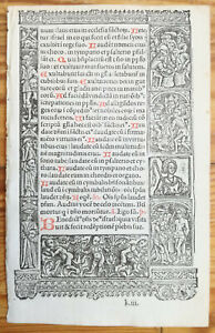 Book Of Hours Leaf Hardouin Woodcut Border Saint Sebastian Hunting 1510