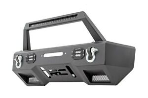 Rough Country Jeep Front Stubby Led Winch Bumper W Hoop Black 18 19 Wrangler Jl