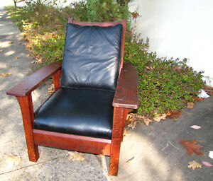 Superb Antique L Jg Stickley Paddle Arm Armchair With Fixed Back W2531 Sale