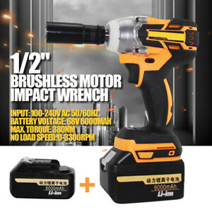 0 3300rpm Electric Cordless Brushless Impact Wrench Drill W Lithium Battery