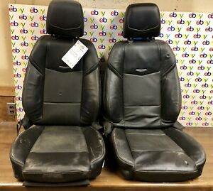 2017 Cadillac Ats 2 0t Sedan Front Left And Right Oem Black Leather Seats