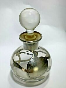 Art Deco Sterling Silver Overlay Foliage Clear Glass Perfume Bottle