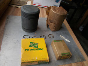 John Deere B New Old Stock 41 47 B Cast Iron Pistons Rings And Pins Std Bore