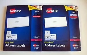 2 Avery 5160 Address Labels 3000 Labels 100 Per Sheet 1 X 2 5 8 6000 Total