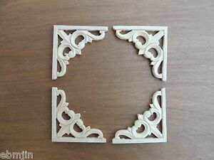 S Carved Wood Panel 4pcs Set W Triangle Flower