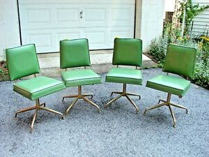 Vintage Mid Century Modern Set Of 4 Viko Baumritter Swivel Legs Dining Chairs