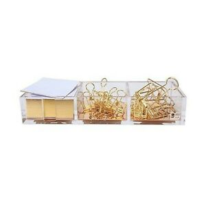 Clarity Gold Notes Holder With Cube Memo Pad 320 Sheets Acrylic 3 In 1 D New