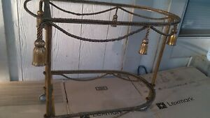 Mid Century Hollywood Regency Serving Cart Distressed Wrought Iron Rope Tassels