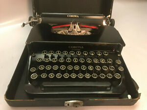 Corona Standard Model 1c Antique Typewriter W Case Great Working Glossy 1940 S