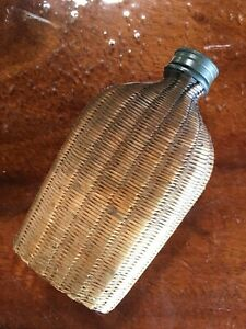 Antique Basket Wicker Covered Pocket Flask