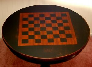 Mahogany Drum Table Painted Checkerboard Black Duncan Phyfe End Side