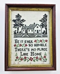 Antique Sampler Cross Stitch Be It Ever So Humble Theres No Place Like Home Prim