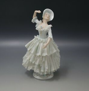 Volkstedt Germany Antique Dresden Lace Colonial Woman Dancer Figurine Antique