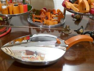 Vintage 1941 Deco Chase Silent Butler Chrome Plated Bakelite Candy Nut Dish