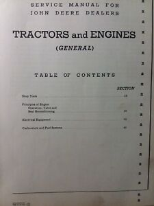 John Deere Tractor A 50 60 Gp H D B Electrical Carburetor Head Service Manual