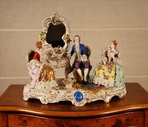 Antique German Porcelain Figural Group Lace Figurine Statue Volkstedt Dresden