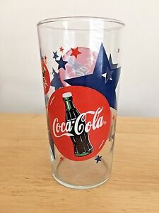 Collectible Vintage Coca Cola Glass Tumbler 1998 Blue & Red Stars 22 Oz.