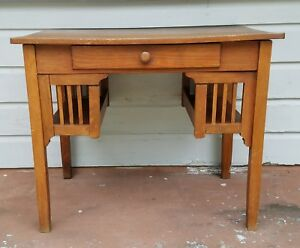Vintage Stickley Style Mission Wood Desk For Office Or Work From Home