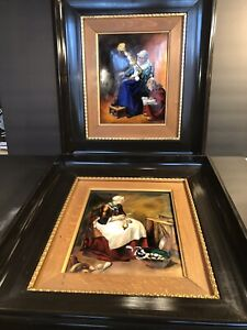 A Pair Of Antique Hand Enameled Limoges Plaques Signed F J Carmona France 1930