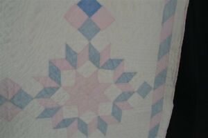 Antique Quilt Patchwork Stars Tumbling Blocks White Pink Blue Original Very Good