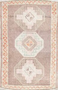Semi Antique Dazzling Oushak Turkish Oriental Hand Knotted 2x3 Wool Small Rug