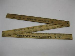 R C Bowers Granite Co Montpelier Vt Vermont Quarry Adv Wood Ruler Vtg Yardstick