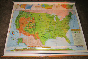 Map United States Pull Down Political Physical Maps Nystrom Elementary School