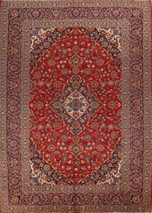 One Of A Kind Vintage Traditional Persian Hand Knotted 10 X14 Red Wool Area Rug