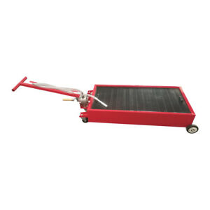 20 Gallon Low Profile Light Weight Truck Car Oil Drain Pan With Pump Steel Red
