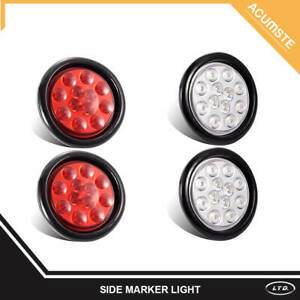 2 Red 2 White 4 Inch Round 12 Led Stop Turn Reverse Backup Tail Light Trailer