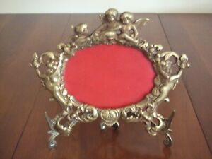 Vtg Antique Metal Cherub Picture Frame Vtg Antique Cherub Frame With Stand