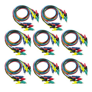 40x Crocodile Clips Cable Double ended Alligator Jumper Test Leads Cable 1m