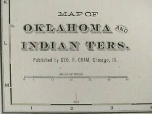 Oklahoma Indian Territory 1900 Vintage Atlas Map 22 X14 Chickasaw Choctaw
