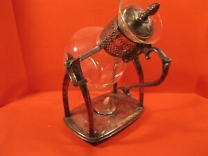 Glass And Silver Plated Hot Water Pitcher On Silver Plated Stand With Heater