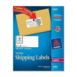 Avery 5163 White Shipping Labels For Laser Printers 2 X 4 1000 Labels pac