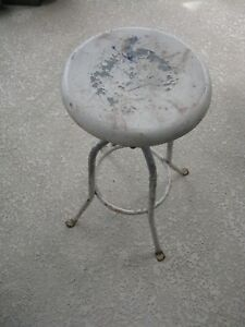 Vintage Industrial Metal Screw Post Stool Original As Found Condition