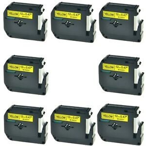 8pk M k631 Mk631 Black On Yellow Label Tape For Brother P touch Pt 65sb 1 2